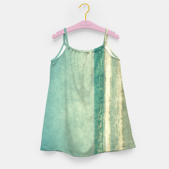 Thumbnail image of Abstract seascape vintage, Beige blue ocean sea Girl's dress, Live Heroes