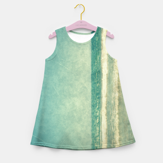 Thumbnail image of Abstract seascape vintage, Beige blue ocean sea Girl's summer dress, Live Heroes