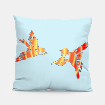 Thumbnail image of Gradient birds on blue Pillow, Live Heroes