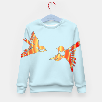 Thumbnail image of Gradient birds on blue Kid's sweater, Live Heroes
