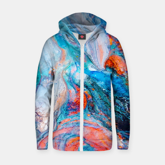 Marble Effect Color Pouring Acrylic Abstract Painting Zip up hoodie thumbnail image
