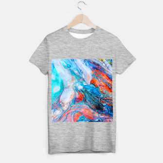 Marble Effect Color Pouring Acrylic Abstract Painting T-shirt regular thumbnail image
