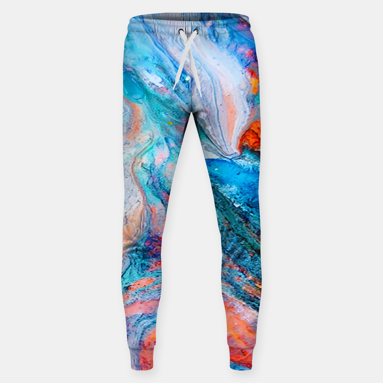 Image of Marble Effect Color Pouring Acrylic Abstract Painting Sweatpants - Live Heroes