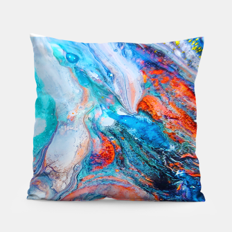 Thumbnail image of Marble Effect Color Pouring Acrylic Abstract Painting Pillow, Live Heroes