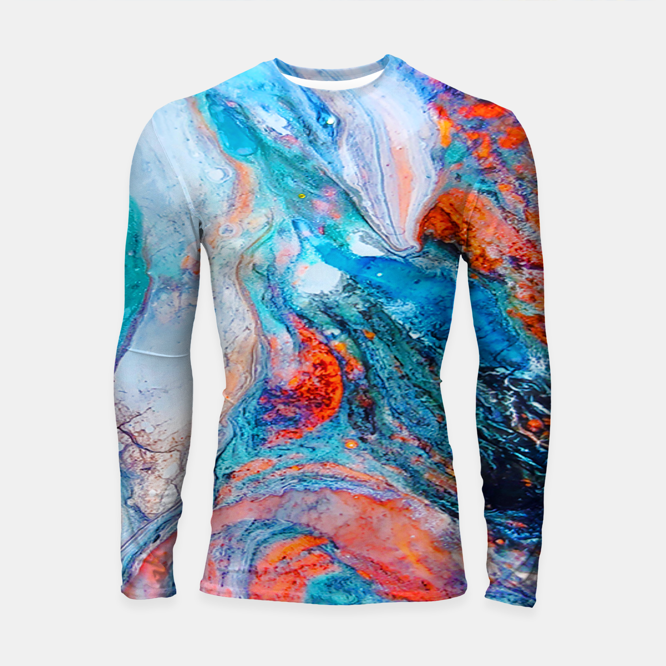 Image of Marble Effect Color Pouring Acrylic Abstract Painting Longsleeve rashguard  - Live Heroes