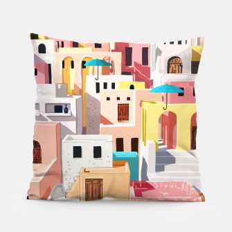 Thumbnail image of Pastel Cityscape Pillow, Live Heroes