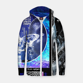 Thumbnail image of Vaporwave Butterfly Geometry Graphic Design Sudadera con capucha y cremallera , Live Heroes