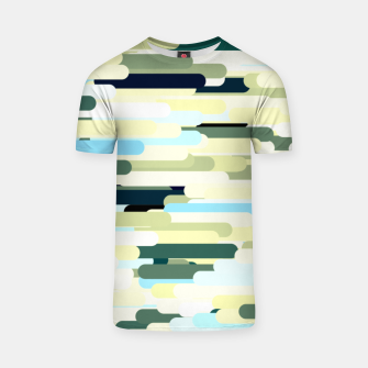 Thumbnail image of Floating bars, abstract geometric print, levitating pieces background in blue green colors T-shirt, Live Heroes