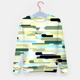 Miniature de image de Floating bars, abstract geometric print, levitating pieces background in blue green colors Kid's sweater, Live Heroes