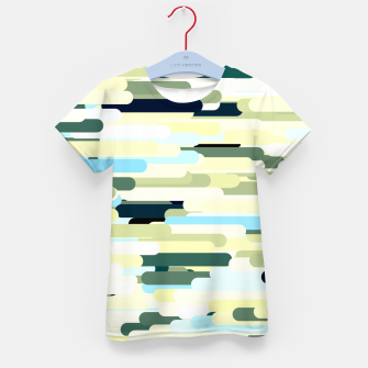 Miniature de image de Floating bars, abstract geometric print, levitating pieces background in blue green colors Kid's t-shirt, Live Heroes