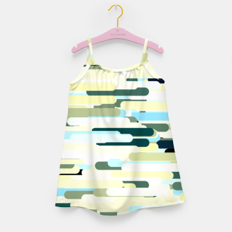 Miniature de image de Floating bars, abstract geometric print, levitating pieces background in blue green colors Girl's dress, Live Heroes