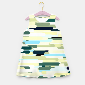Miniature de image de Floating bars, abstract geometric print, levitating pieces background in blue green colors Girl's summer dress, Live Heroes
