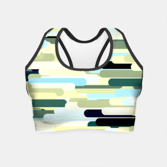 Miniature de image de Floating bars, abstract geometric print, levitating pieces background in blue green colors Crop Top, Live Heroes