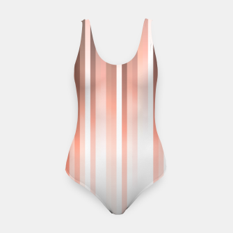 Thumbnail image of Aurora, coral pink vertical lines, pastel colours of the first rays sun light Swimsuit, Live Heroes