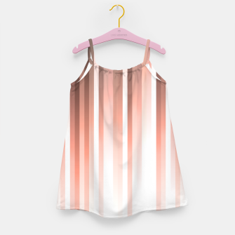 Thumbnail image of Aurora, coral pink vertical lines, pastel colours of the first rays sun light Girl's dress, Live Heroes