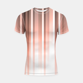 Thumbnail image of Aurora, coral pink vertical lines, pastel colours of the first rays sun light Shortsleeve rashguard, Live Heroes
