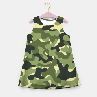 Thumbnail image of Green Camouflage Girl's summer dress, Live Heroes
