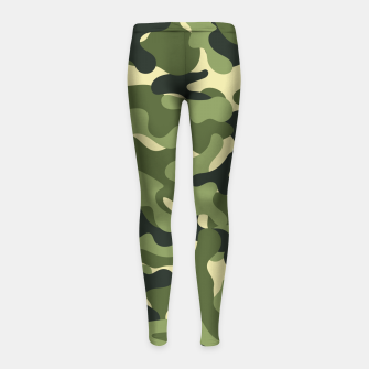 Thumbnail image of Green Camouflage Girl's leggings, Live Heroes