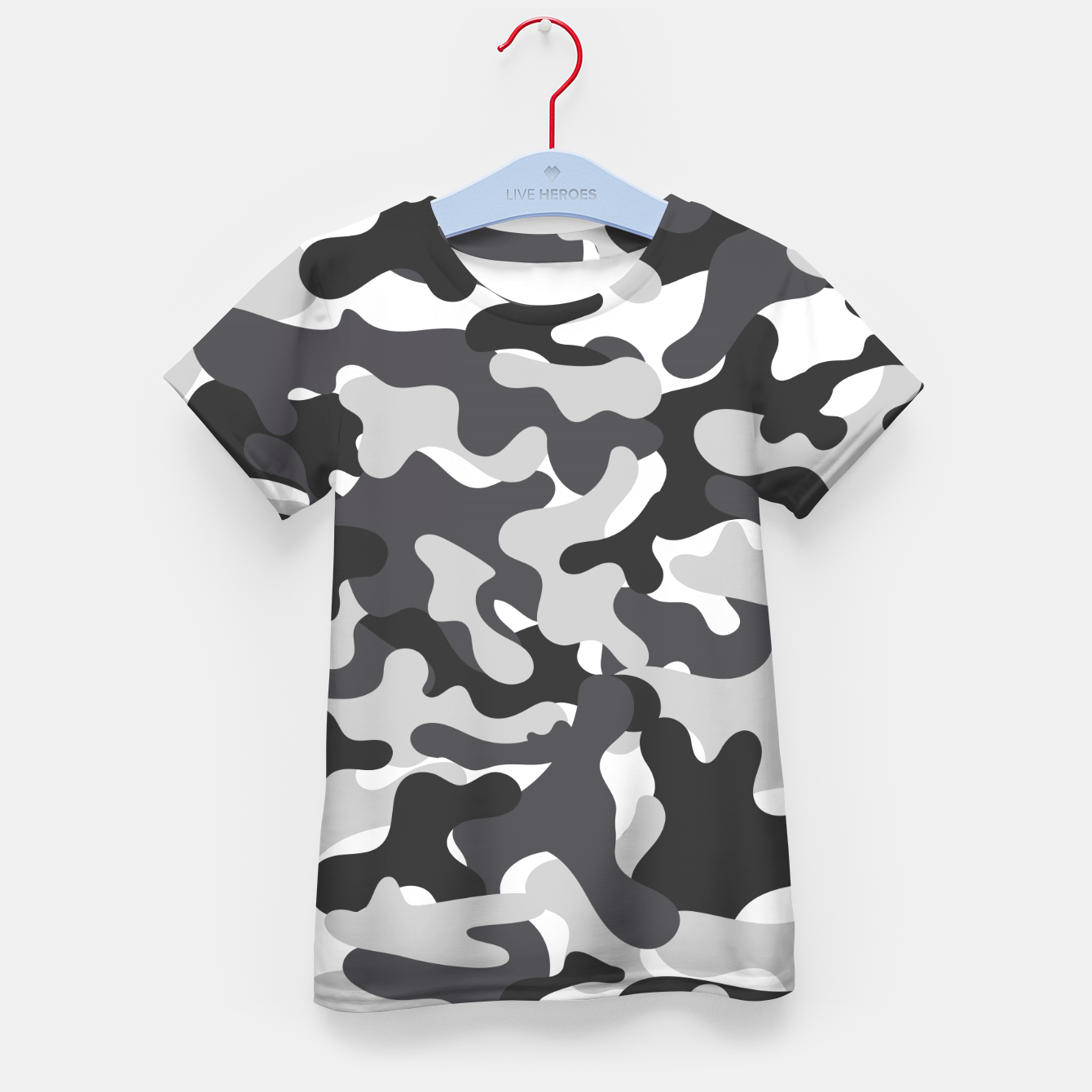 Image of Black & White Camouflage Kid's t-shirt - Live Heroes