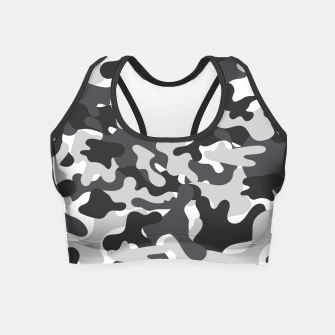 Thumbnail image of Black & White Camouflage Crop Top, Live Heroes