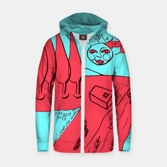 Miniature de image de Sled Hill on Piliscsev at Winter - red and light blue Zip up hoodie, Live Heroes