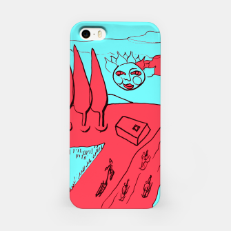 Miniature de image de Sled Hill on Piliscsev at Winter - red and light blue iPhone Case, Live Heroes