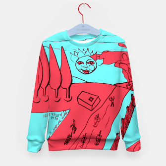 Miniature de image de Sled Hill on Piliscsev at Winter - red and light blue Kid's sweater, Live Heroes
