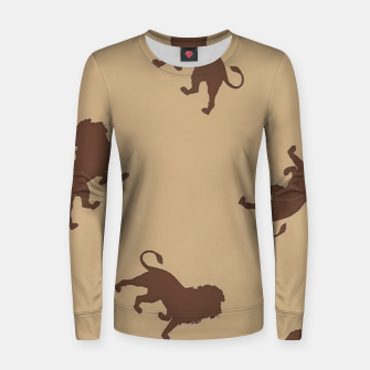 Thumbnail image of Brown lion silhouette pattern Women sweater, Live Heroes