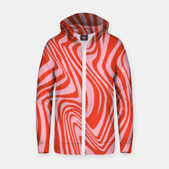 Thumbnail image of Swirl Lines Pattern in Red and Hot Pink Zip up hoodie, Live Heroes