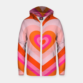 Thumbnail image of hypnotic retro hearts pattern Zip up hoodie, Live Heroes
