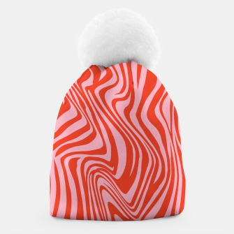 Thumbnail image of Swirl Lines Pattern in Red and Hot Pink Beanie, Live Heroes