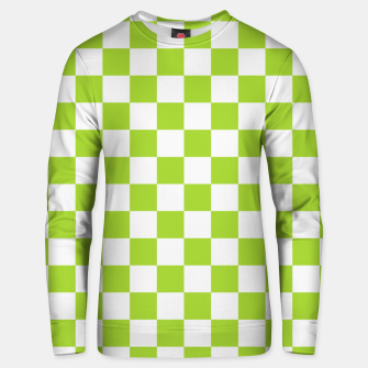 Miniatur Checkered Plaid Pattern in Pastel Green Unisex sweater, Live Heroes