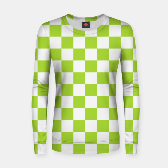 Miniatur Checkered Plaid Pattern in Pastel Green Women sweater, Live Heroes