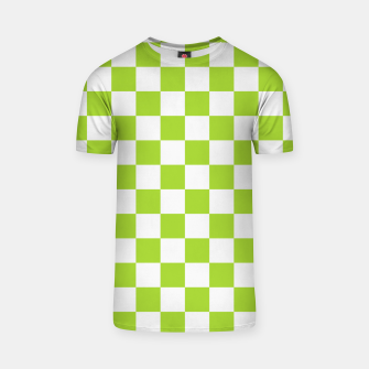 Miniatur Checkered Plaid Pattern in Pastel Green T-shirt, Live Heroes