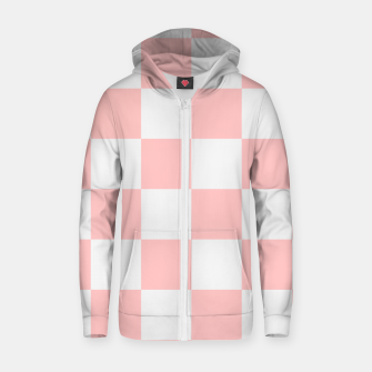 Thumbnail image of Pink Checkered Pattern Zip up hoodie, Live Heroes