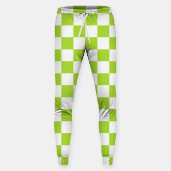 Miniatur Checkered Plaid Pattern in Pastel Green Sweatpants, Live Heroes
