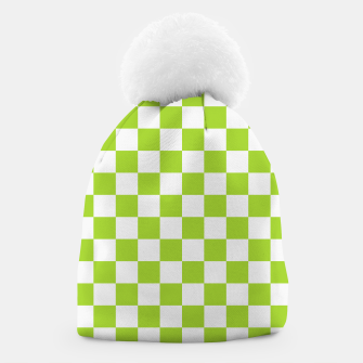 Miniatur Checkered Plaid Pattern in Pastel Green Beanie, Live Heroes