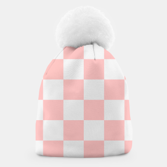 Thumbnail image of Pink Checkered Pattern Beanie, Live Heroes