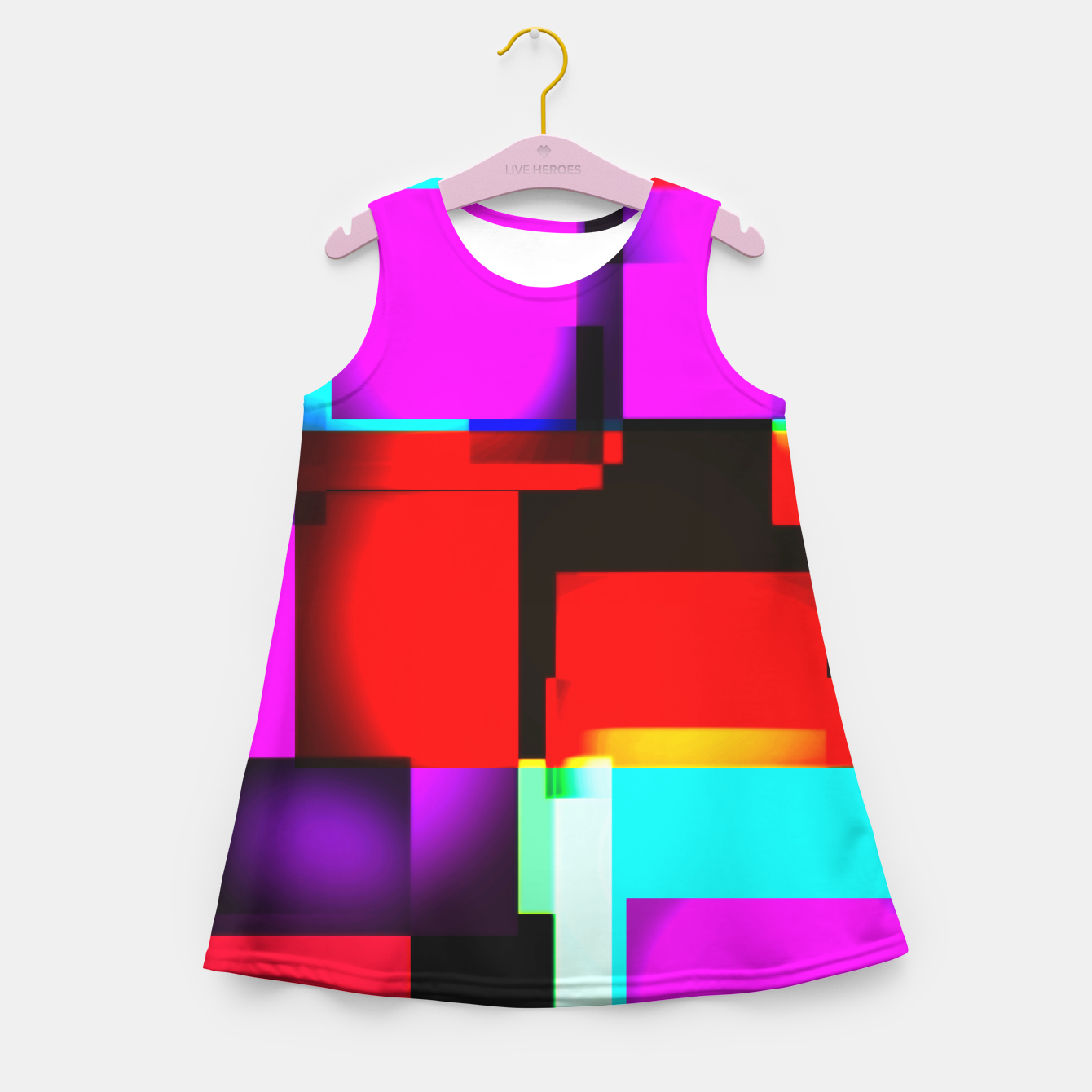 Image of abstract squares Mädchen-Sommerkleid - Live Heroes