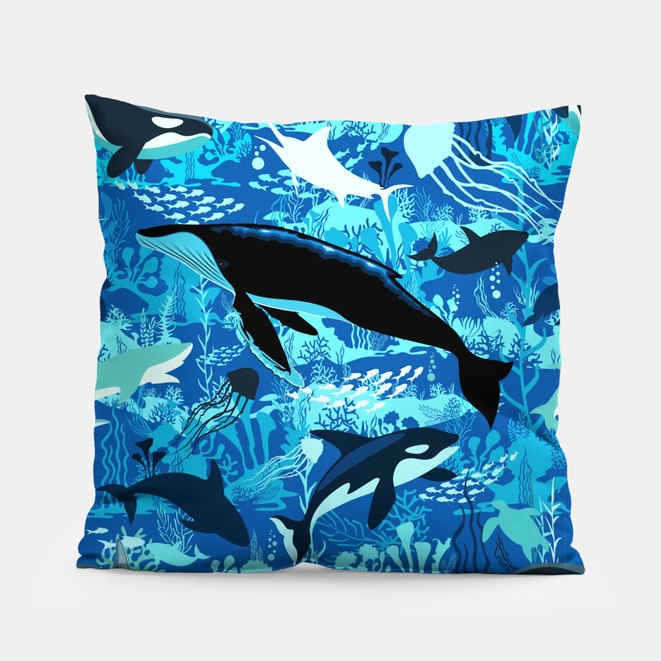 Image of Sealife Blue Shades Dream Underwater Scenery Pillow - Live Heroes