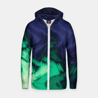 Miniatur The abyss, blue and green abstract deep underwater print Zip up hoodie, Live Heroes