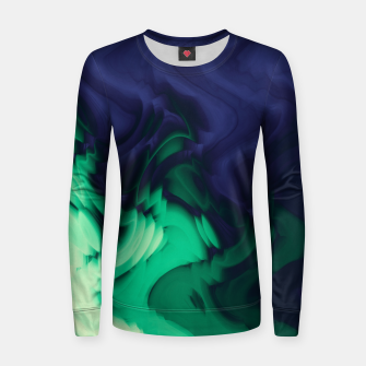 Miniatur The abyss, blue and green abstract deep underwater print Women sweater, Live Heroes