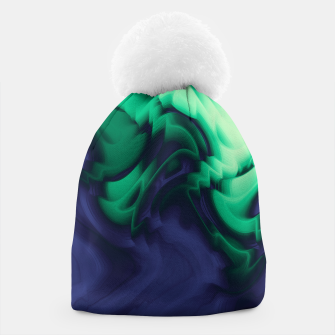 Miniatur The abyss, blue and green abstract deep underwater print Beanie, Live Heroes