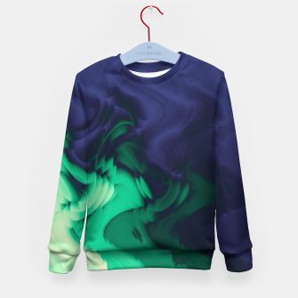 Miniatur The abyss, blue and green abstract deep underwater print Kid's sweater, Live Heroes