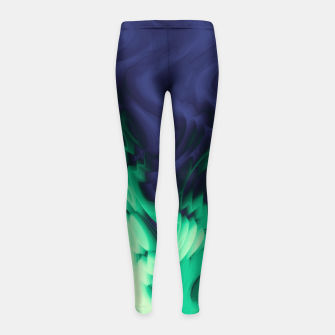 Thumbnail image of The abyss, blue and green abstract deep underwater print Girl's leggings, Live Heroes