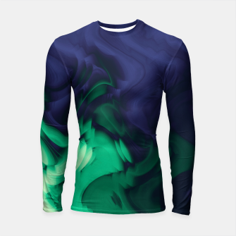 Thumbnail image of The abyss, blue and green abstract deep underwater print Longsleeve rashguard , Live Heroes