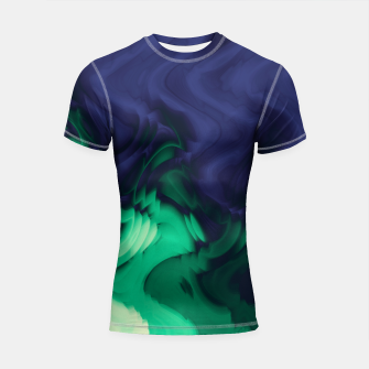 Thumbnail image of The abyss, blue and green abstract deep underwater print Shortsleeve rashguard, Live Heroes