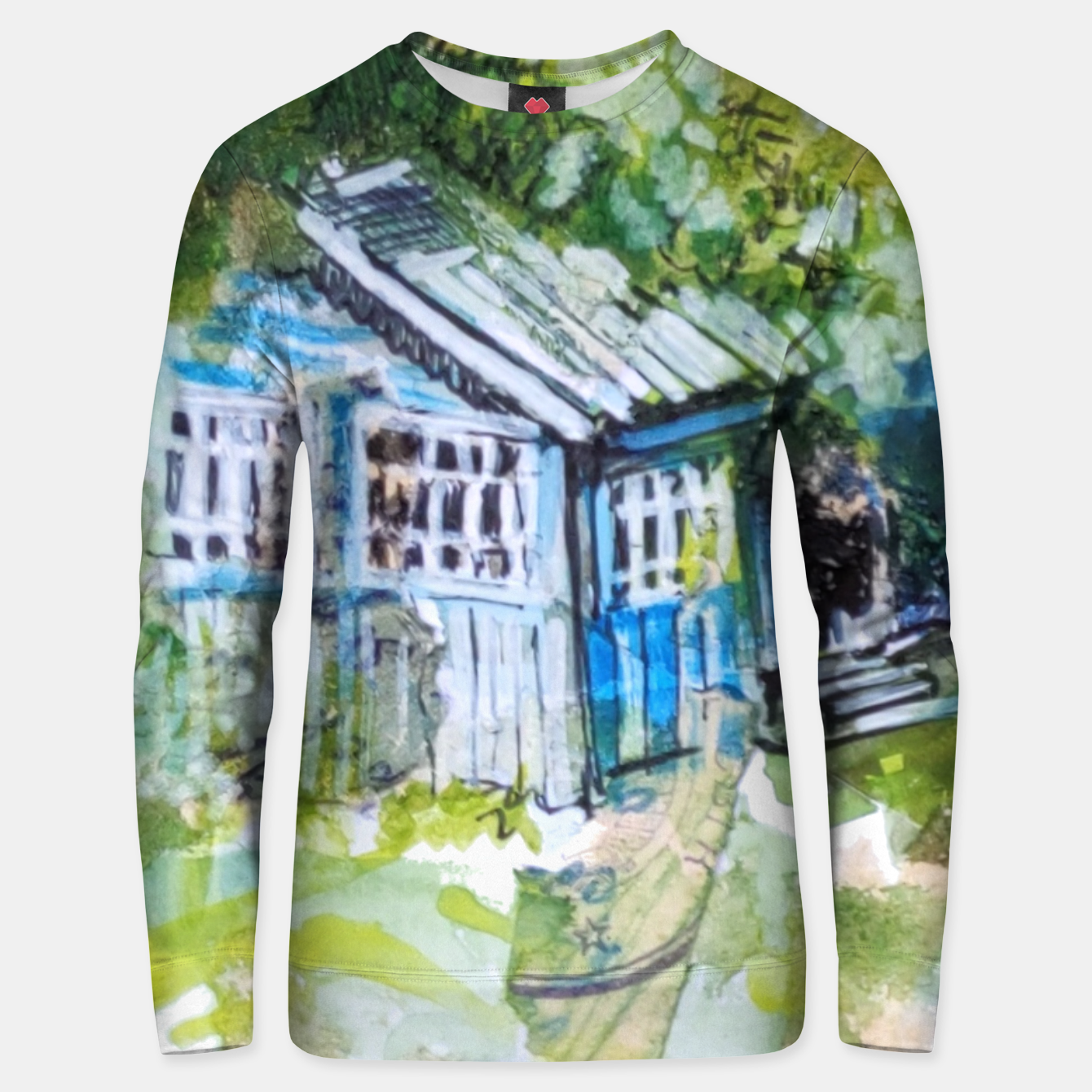 Image of blue house by Yulia A Korneva Unisex sweater - Live Heroes