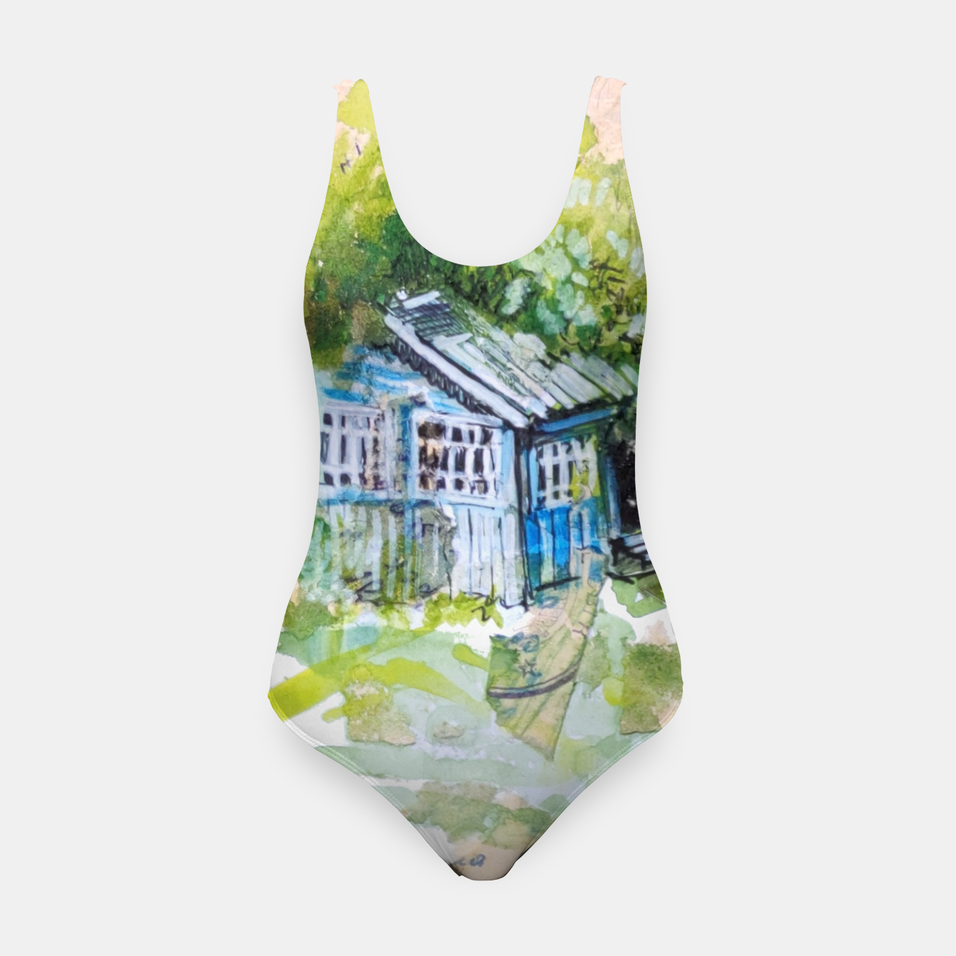 Image of blue house by Yulia A Korneva Swimsuit - Live Heroes