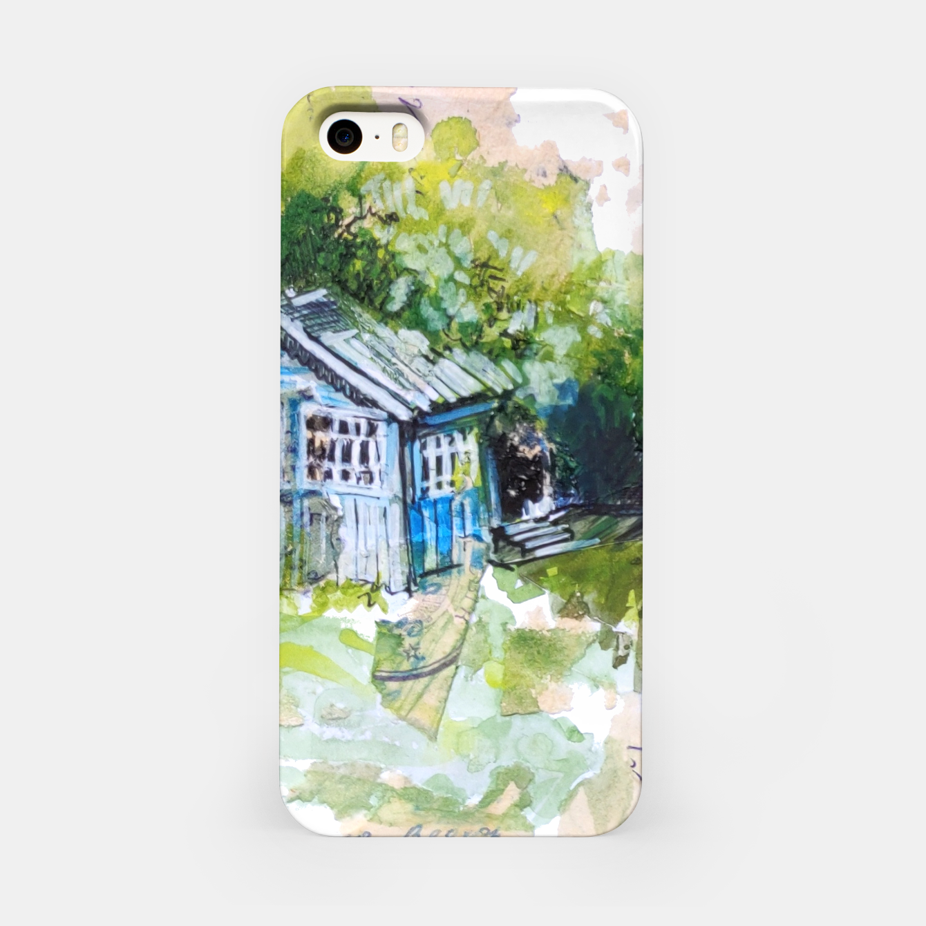 Image of blue house by Yulia A Korneva iPhone Case - Live Heroes